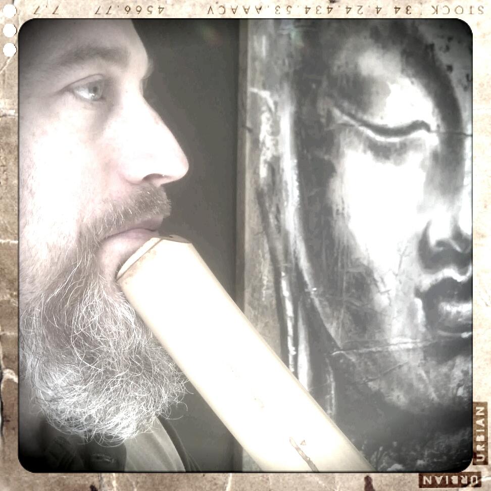 Cornelius Boots with shakuhachi and Buddha painting